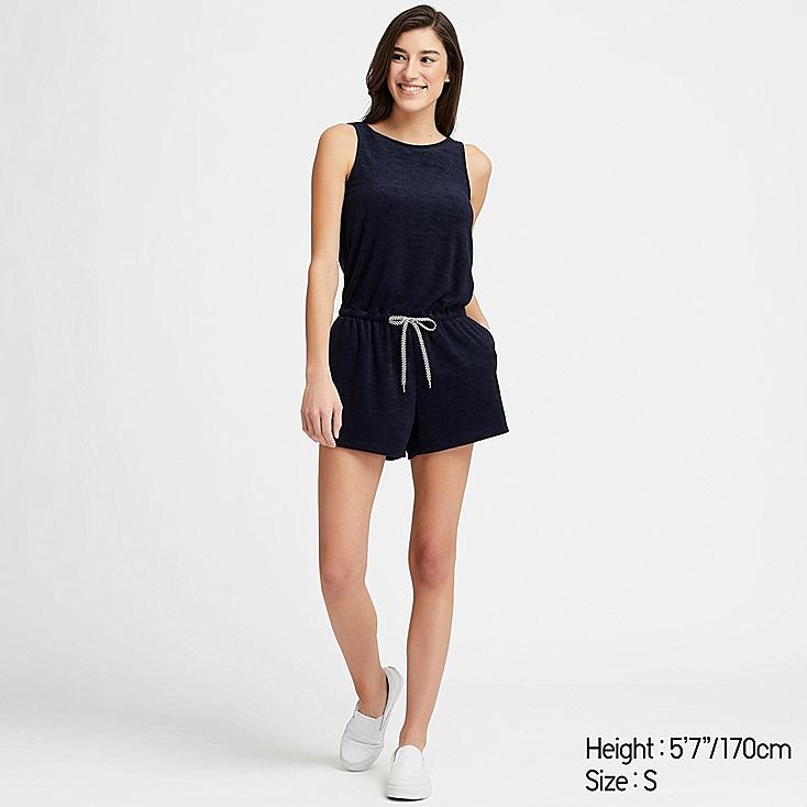 WOMEN AIRism PILE ROMPER (WITH PADDING), NAVY, large
