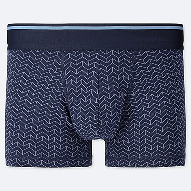MEN SUPIMA COTTON GEOMETRIC PRINT BOXER SHORTS