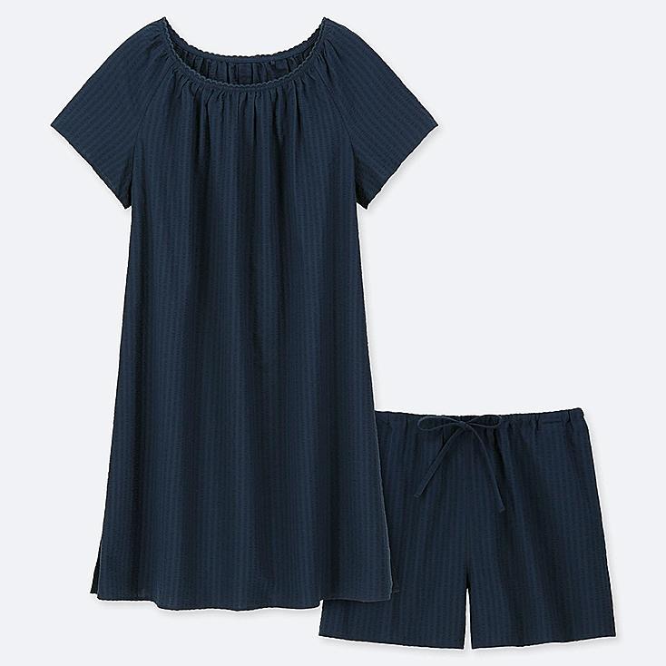 WOMEN COTTON PAJAMAS SHORT-SLEEVE DRESS SET, NAVY, large