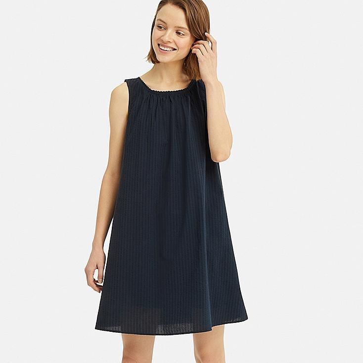 WOMEN COTTON PAJAMAS SLEEVELESS DRESS SET, NAVY, large