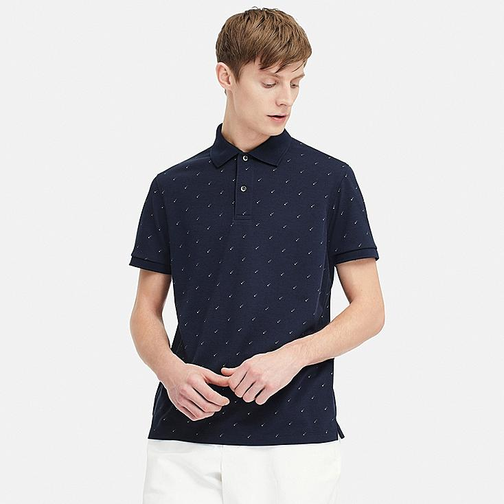 MEN DRY-EX PIQUE PRINTED POLO SHIRT (ONLINE EXCLUSIVE), NAVY, large
