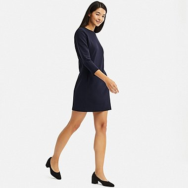 WOMEN PONTE 3/4 SLEEVE DRESS, NAVY, medium