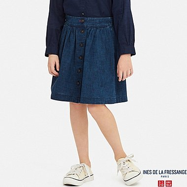 GIRLS COTTON GATHERED SKIRT (INES DE LA FRESSANGE), NAVY, medium