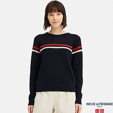 WOMEN LINE CREW NECK SWEATER (INES DE LA FRESSANGE), NAVY, medium