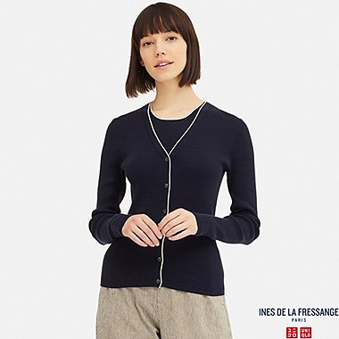 WOMEN UV CUT SUPIMA® COTTON RIBBED V-NECK CARDIGAN (INES DE LA FRESSANGE), NAVY, medium