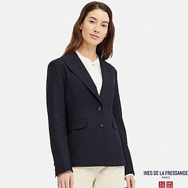 WOMEN WOOL-BLEND BLAZER (INES DE LA FRESSANGE), NAVY, medium