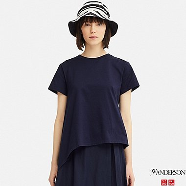 WOMEN MERCERIZED COTTON ASYMMETRIC SHORT-SLEEVE T-SHIRT (JW Anderson), NAVY, medium