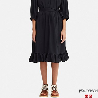 WOMEN RUFFLE SKIRT (JW Anderson), NAVY, medium