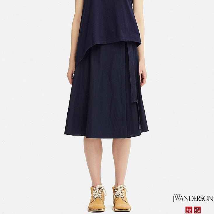 WOMEN WRAP SKIRT (JW Anderson), NAVY, large