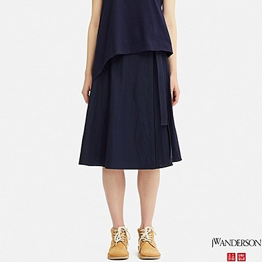 WOMEN WRAP SKIRT (JW Anderson), NAVY, medium