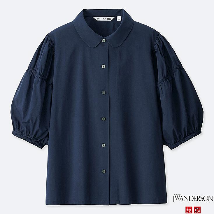WOMEN 3/4 PUFF SLEEVE BLOUSE (JW Anderson), NAVY, large