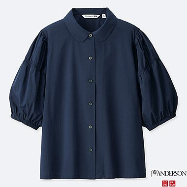 WOMEN 3/4 PUFF SLEEVE BLOUSE (JW Anderson), NAVY, medium