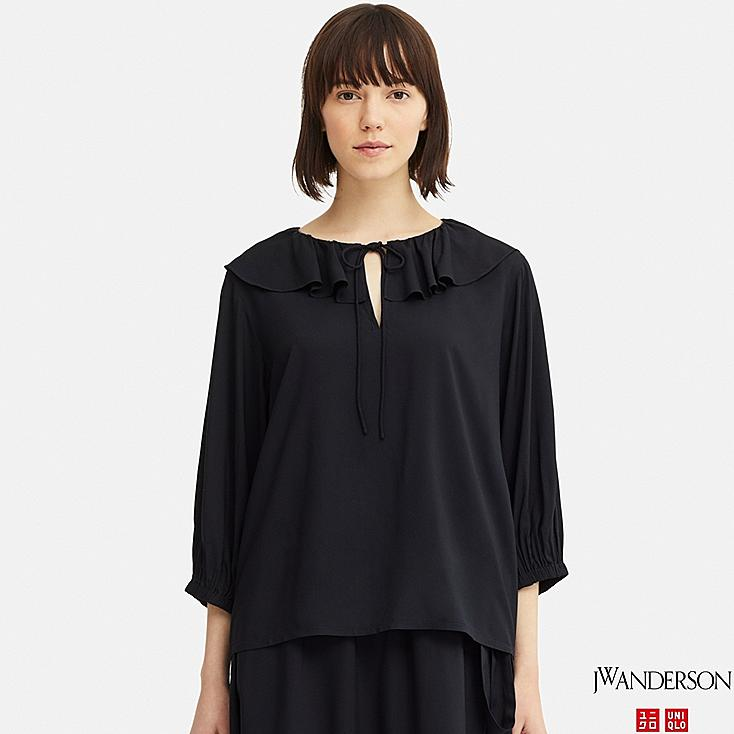 WOMEN  RUFFLE NECK 3/4 SLEEVE BLOUSE (JW Anderson), NAVY, large