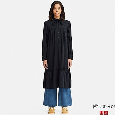 WOMEN GATHERED LONG-SLEEVE DRESS (JW Anderson), NAVY, medium