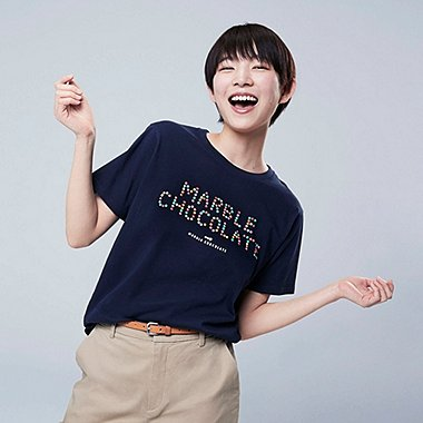 WOMEN THE BRANDS OKASHI UT MEIJI (SHORT-SLEEVE GRAPHIC T-SHIRT), NAVY, medium