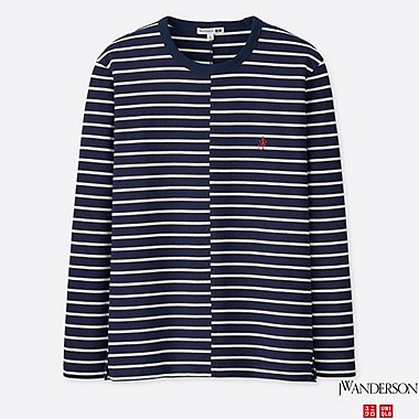 MEN ASYMMETRIC STRIPED LONG-SLEEVE T-SHIRT (JW Anderson), NAVY, medium