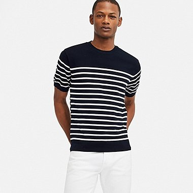MEN WASHABLE STRIPED CREW NECK SHORT-SLEEVE SWEATER, NAVY, medium