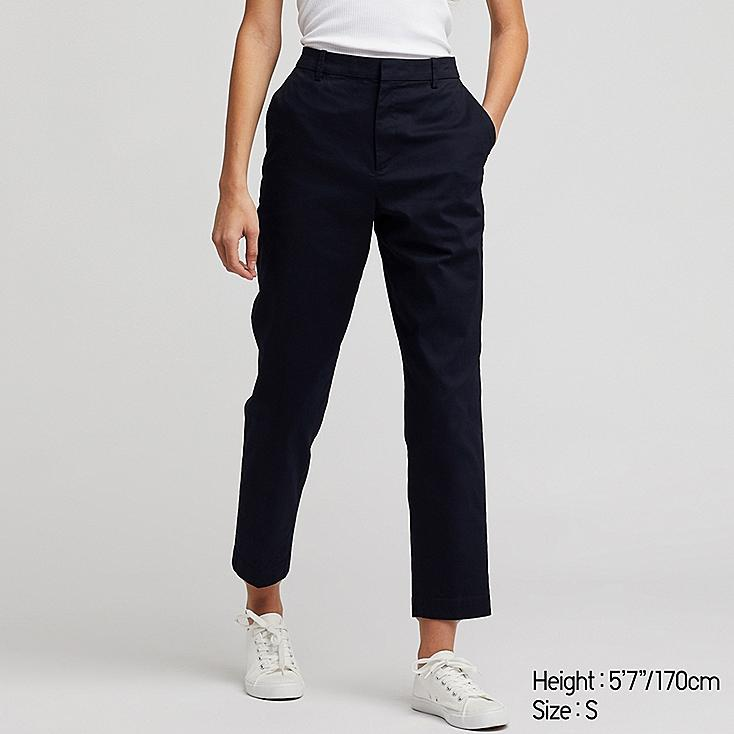 WOMEN EZY CHINO ANKLE PANTS, NAVY, large