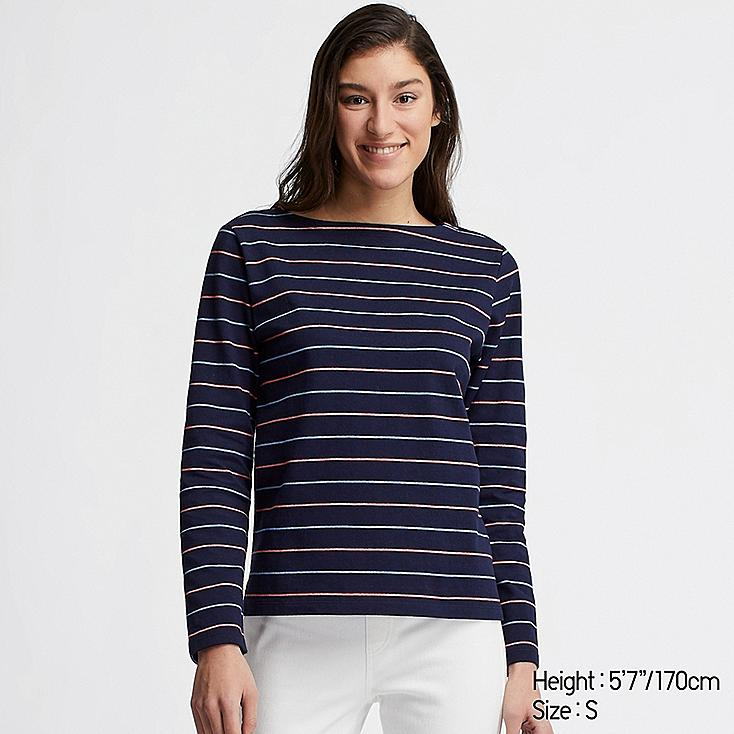 WOMEN STRIPED BOAT NECK LONG-SLEEVE T-SHIRT, NAVY, large