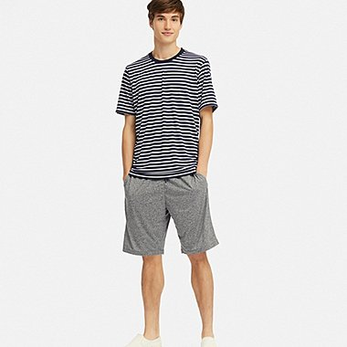 MEN AIRISM STRIPED SHORT SLEEVED SET
