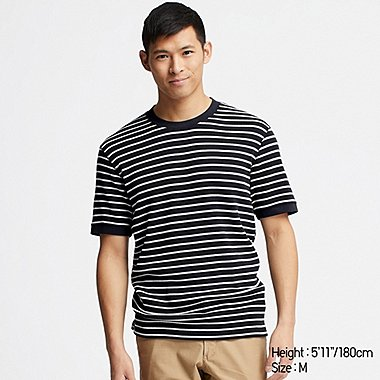 MEN WAFFLE STRIPED CREW NECK SHORT-SLEEVE T-SHIRT, NAVY, medium