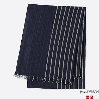 COTTON LINEN STOLE (JW Anderson), NAVY, medium