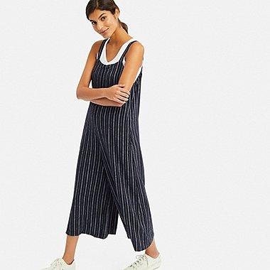 WOMEN LINEN BLEND STRIPED JUMPSUIT, NAVY, medium