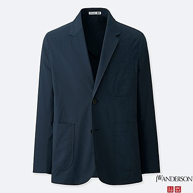 MEN TAILORED JACKET (SEERSUCKER) (JW Anderson), NAVY, medium
