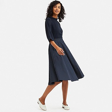 WOMEN FRONT BUTTON CIRCULAR SKIRT, NAVY, medium