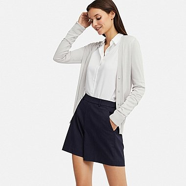 WOMEN SMART CHECKED SHORTS (ONLINE EXCLUSIVE), NAVY, medium