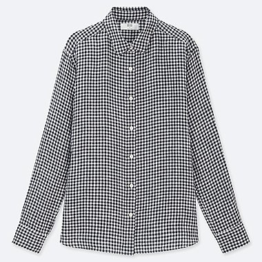 WOMEN PREMIUM LINEN CHECKED LONG-SLEEVE SHIRT, NAVY, medium