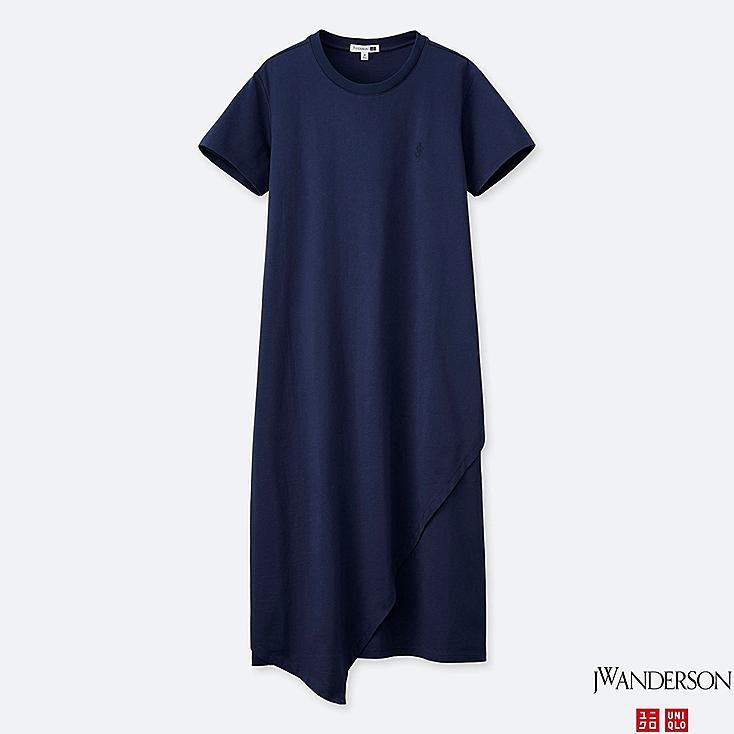 WOMEN ASYMMETRIC HEM SHORT-SLEEVE DRESS (JW Anderson), NAVY, large