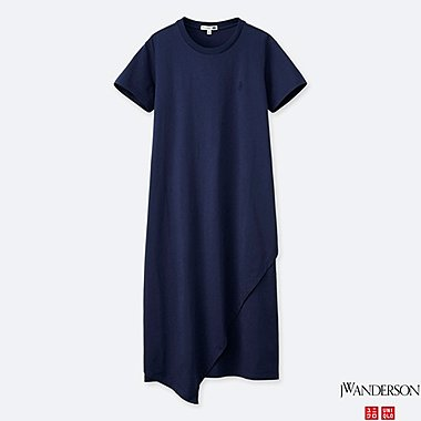 WOMEN ASYMMETRIC HEM SHORT-SLEEVE DRESS (JW Anderson), NAVY, medium