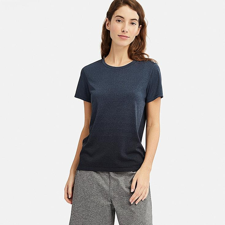 WOMEN DRY-EX CREW NECK SHORT-SLEEVE T-SHIRT, NAVY, large