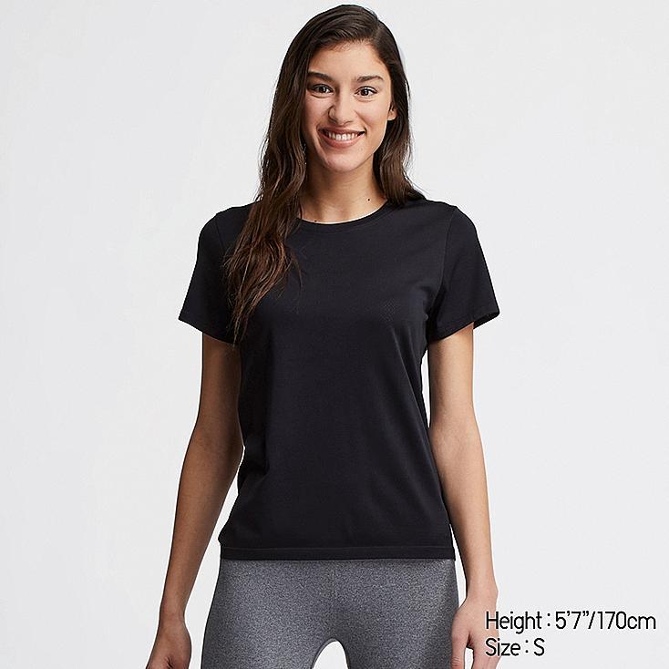 WOMEN DRY-EX CREW NECK SHORT-SLEEVE T-SHIRT, NAVY, large