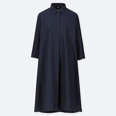 WOMEN EXTRA FINE COTTON A-LINE 3/4 SLEEVE DRESS, NAVY, medium