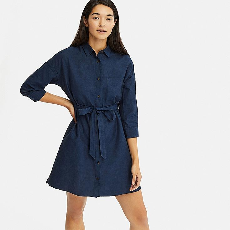 WOMEN LINEN BLEND 3/4 SLEEVE SHIRT DRESS, NAVY, large