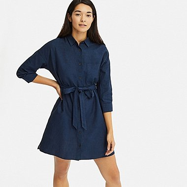 WOMEN LINEN BLEND 3/4 SLEEVE SHIRT DRESS, NAVY, medium