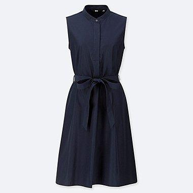 WOMEN EXTRA FINE COTTON A-LINE SLEEVELESS DRESS, NAVY, medium