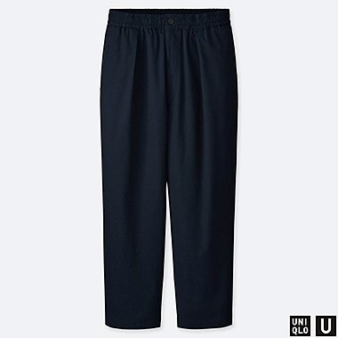 MEN U RELAXED WIDE-FIT TAPERED PANTS, NAVY, medium