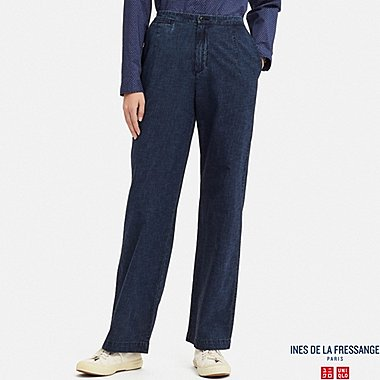 WOMEN COTTON RELAXED PANTS (INES DE LA FRESSANGE), NAVY, medium