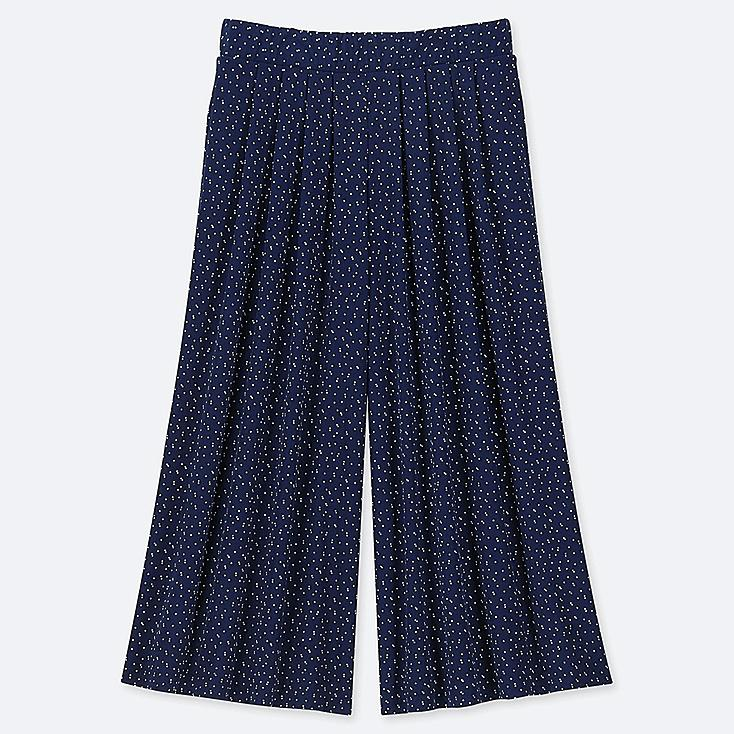 WOMEN CREPE JERSEY FLARE WIDE CROPPED PANTS, NAVY, large