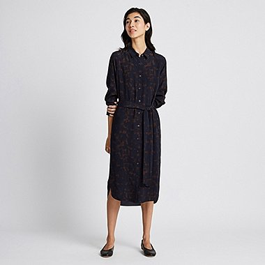 WOMEN PRINTED LONG-SLEEVE SHIRT DRESS, NAVY, medium