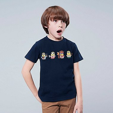 KIDS MINIONS SHORT-SLEEVE GRAPHIC T-SHIRT, NAVY, medium