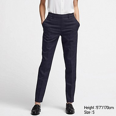 WOMEN EZY ANKLE-LEGNTH PANTS, NAVY, medium