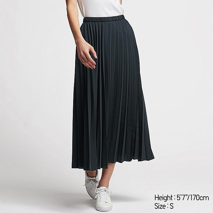 WOMEN PLEATED LONG SKIRT, NAVY, large