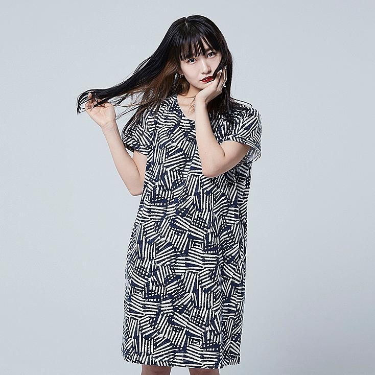 WOMEN SCANDINAVIAN SHORT-SLEEVE DRESS, NAVY, large
