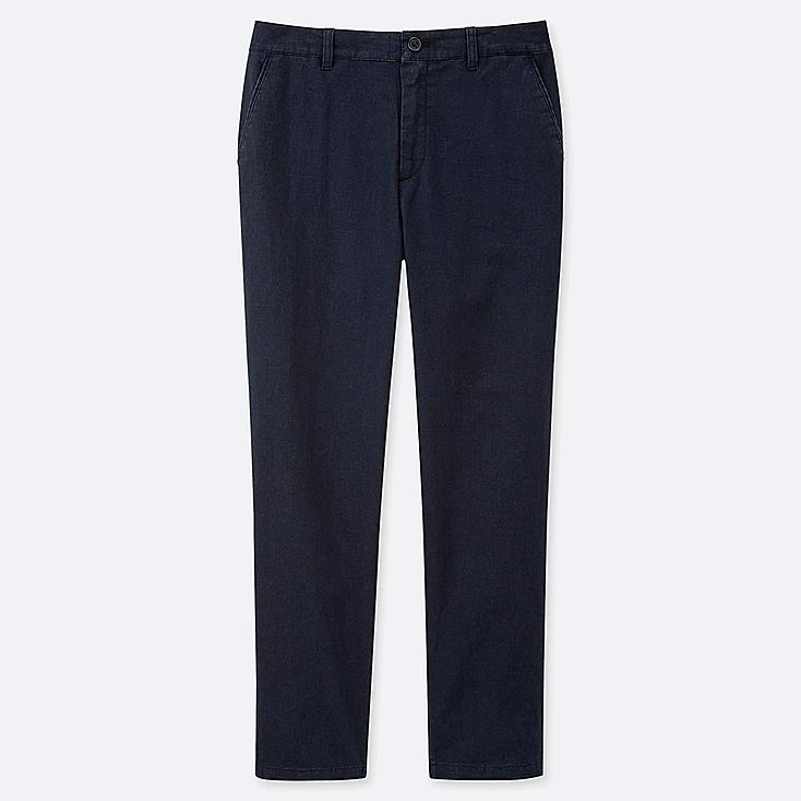 """WOMEN LINEN COTTON TAPERED PANTS (TALL 30"""") (ONLINE EXCLUSIVE), NAVY, large"""