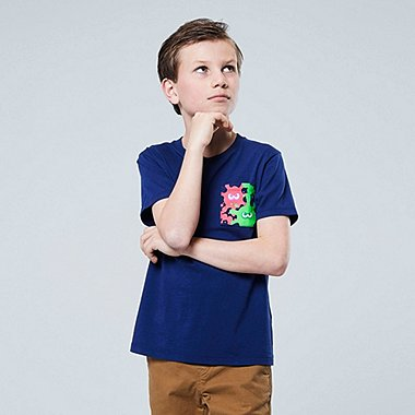KIDS SPLATOON UT (SHORT-SLEEVE GRAPHIC T-SHIRT), NAVY, medium
