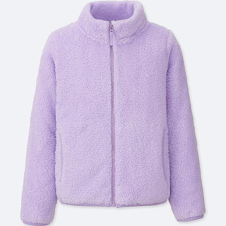GIRLS FLUFFY YARN FLEECE LONG SLEEVE JACKET, LIGHT PURPLE, large